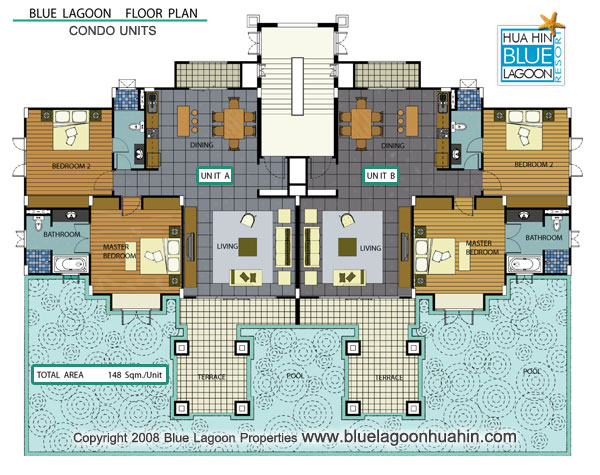 Floor plans blue lagoon hua hin villas and apartments for Condo floor plan